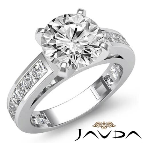 Round Brilliant Diamond Engagement Channel Ring GIA F SI1 14k White Gold 2.7ct