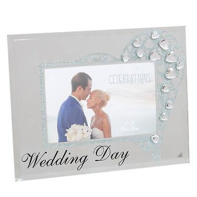 Wedding Day Espejo de Cristal 6x4 Marco de Fotos - Purpurina /...