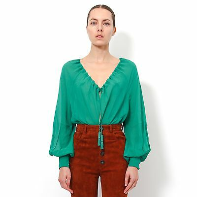 Saint Laurent YSL (Slimane) Silk Chiffon Drawstring Blouse Emerald Green FR 36