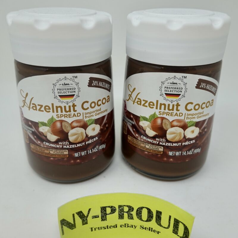 Crunchy Cocoa Hazelnut Spread With Real Hazelnut Pieces, Made In Germany, 2-Pack