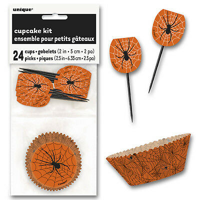 range Spider Web Party Cupcake Cases Picks Decorating Kit (Spider Web Halloween Cupcakes)