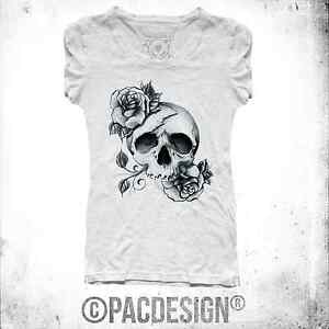T Shirt Donna Tattoo Old School Flower Skull Rock My Why
