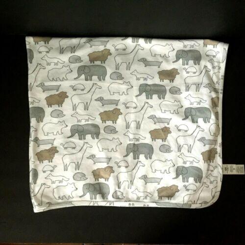 Carters Giraffe Elephant Sheep Baby Blanket Animal Safari Gray White Brown