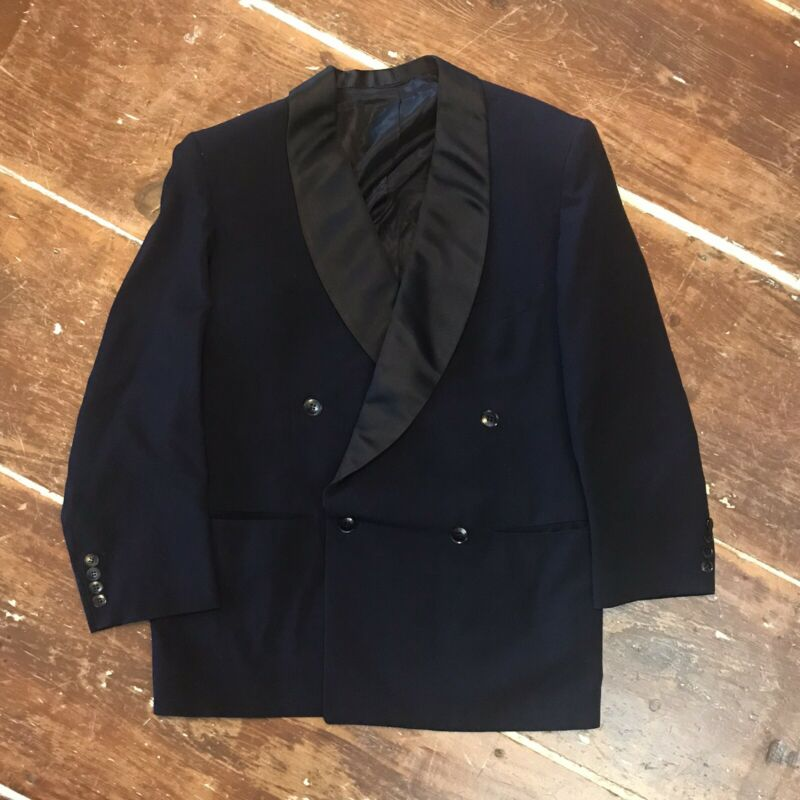 Vintage 50s Single Button Wool Double Breasted Tuxedo Jacket Mens 40 Navy/Black