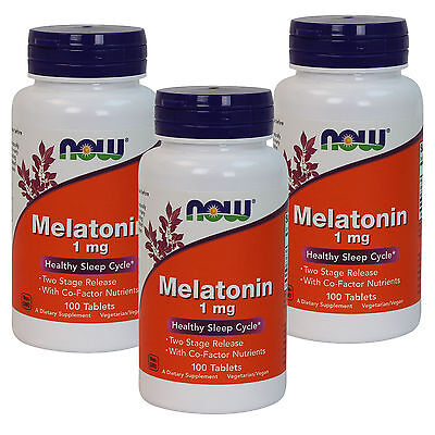 3 x NOW FOODS Melatonin Two Stage Time Release 1 mg 100 Tabs, FRESH, MADE IN -