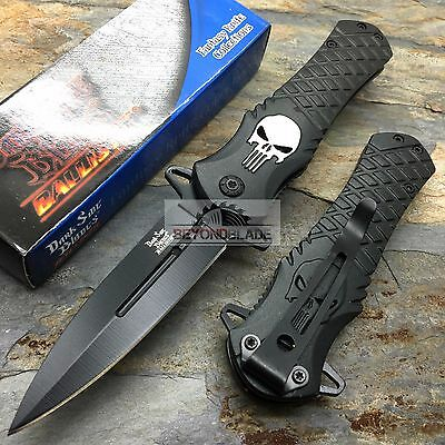 DARK SIDE BLADES Skull Punisher Black Tactical Rescue Pocket Knife (Black Rescue Blade)