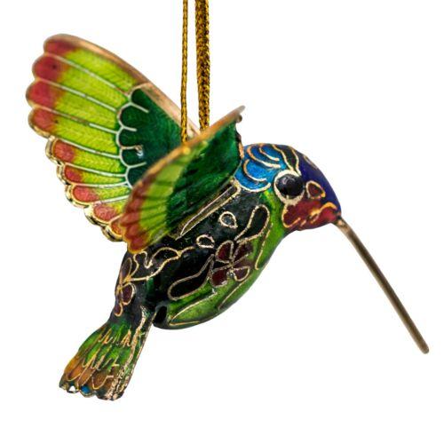 "Small Cloisonne Enameled Metal Green Hummingbird Ornament 2"" Long New!"