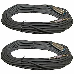 2-50-Ft-XLR-3-Pin-FEMALE-to-1-4-inch-MONO-Headphone-mic-Cable-AUDIO-CORD-6-3MM