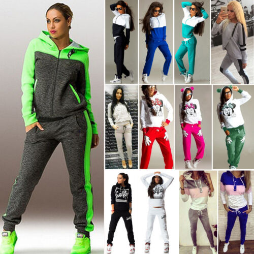 Damen Trainingsanzug Kapuze Sweat Pullover Hose Jogginganzug Hausanzug Anzug
