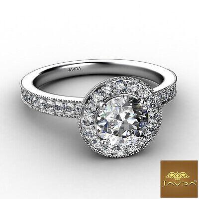 Halo Milgrain Pave Bezel Setting Round Diamond Engagement Ring GIA E VS1 1.22Ct 1