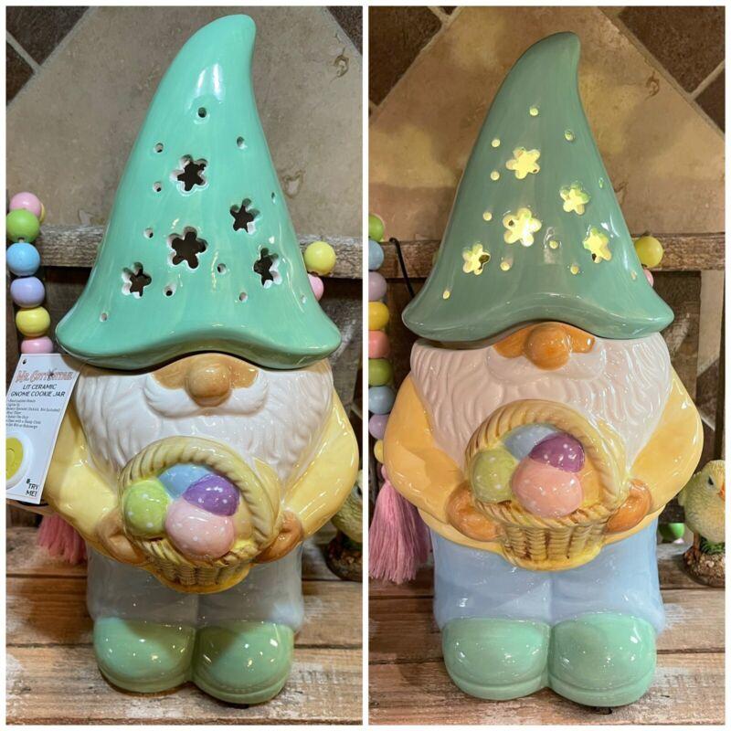 Mr Christmas MR COTTONTAIL Lit Ceramic GNOME Easer COOKIE JAR LED w/ TIMER