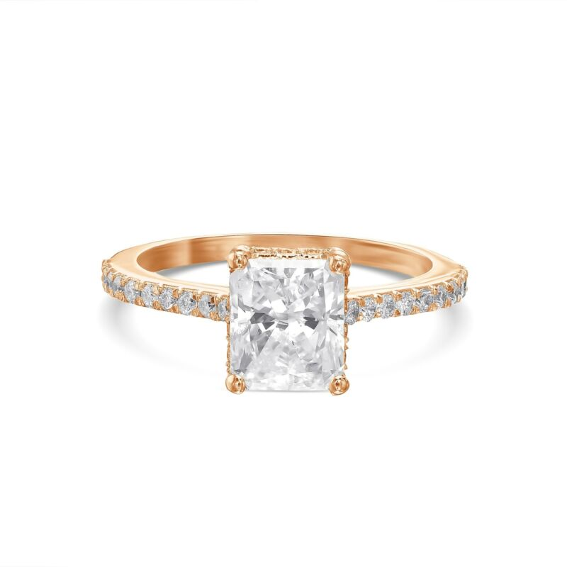 Real Diamond Engagement Ring E/si1 2.50 Ct Radiant Cut 14k Rose Gold