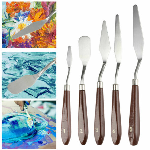 5Pcs Stainless Steel Palette Scraper Spatula Knife for Oil Acrylic Painting Art