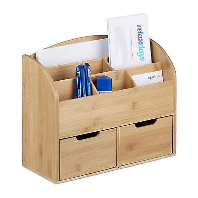 Schreibtischbutler Holz Schreibtisch-Organizer Bambus 2 Schubladen Briefordner