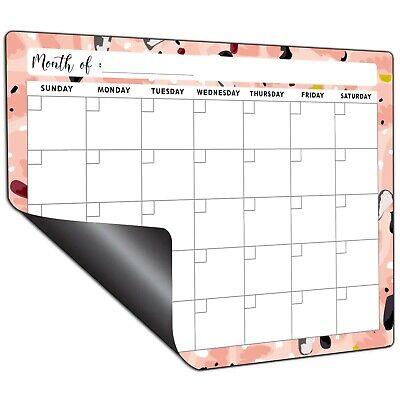 Mudrit Dry Erase Fridge Calendar- Magnetic White Board Monthly Planner - Pink