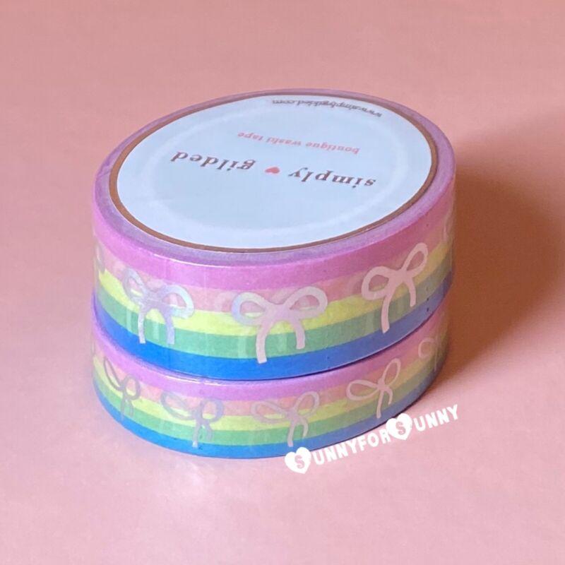 Simply Gilded *RAINBOW STRIPE* Holo Bow Fundraiser Washi Tape Set