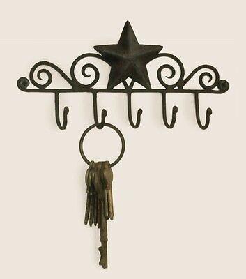 BROWN Iron Metal Decorative BARN STAR 5 Wall Mounted KEY HANGER Holder Hook