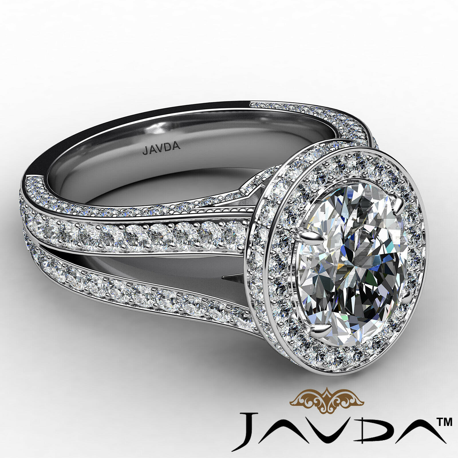 Halo Oval Diamond Engagement Ring GIA Certified F Color & SI1 clarity 2.31 ctw 6
