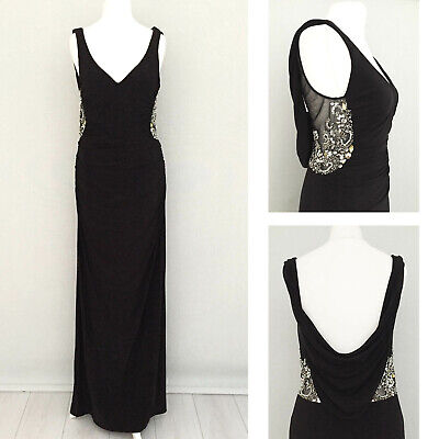 LM Collection Maxi Dress UK 8 US 6 Black Gown Sequin Embellish Party Wedding NEW