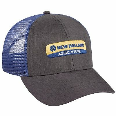 New Holland Gray Cap with Blue Mesh Men's Adjustable Plastic Strap NH288278