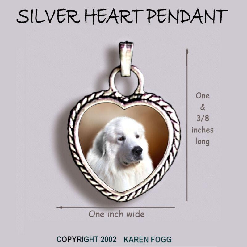 GREAT PYRENEES DOG - Ornate HEART PENDANT Tibetan Silver