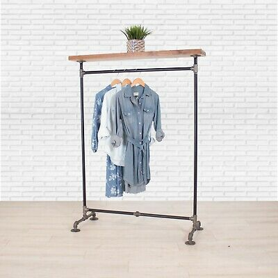 Industrial Pipe Clothing Rack With Cedar Wood Top Shelf William Roberts Vintage