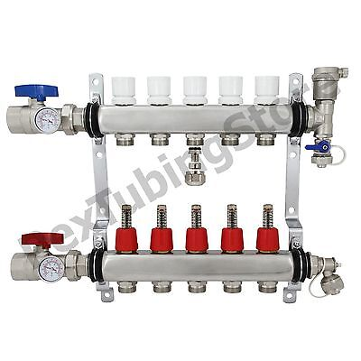 5-branch Pex Radiant Floor Heating Manifold Set - Stainless Steel For 12 Pex