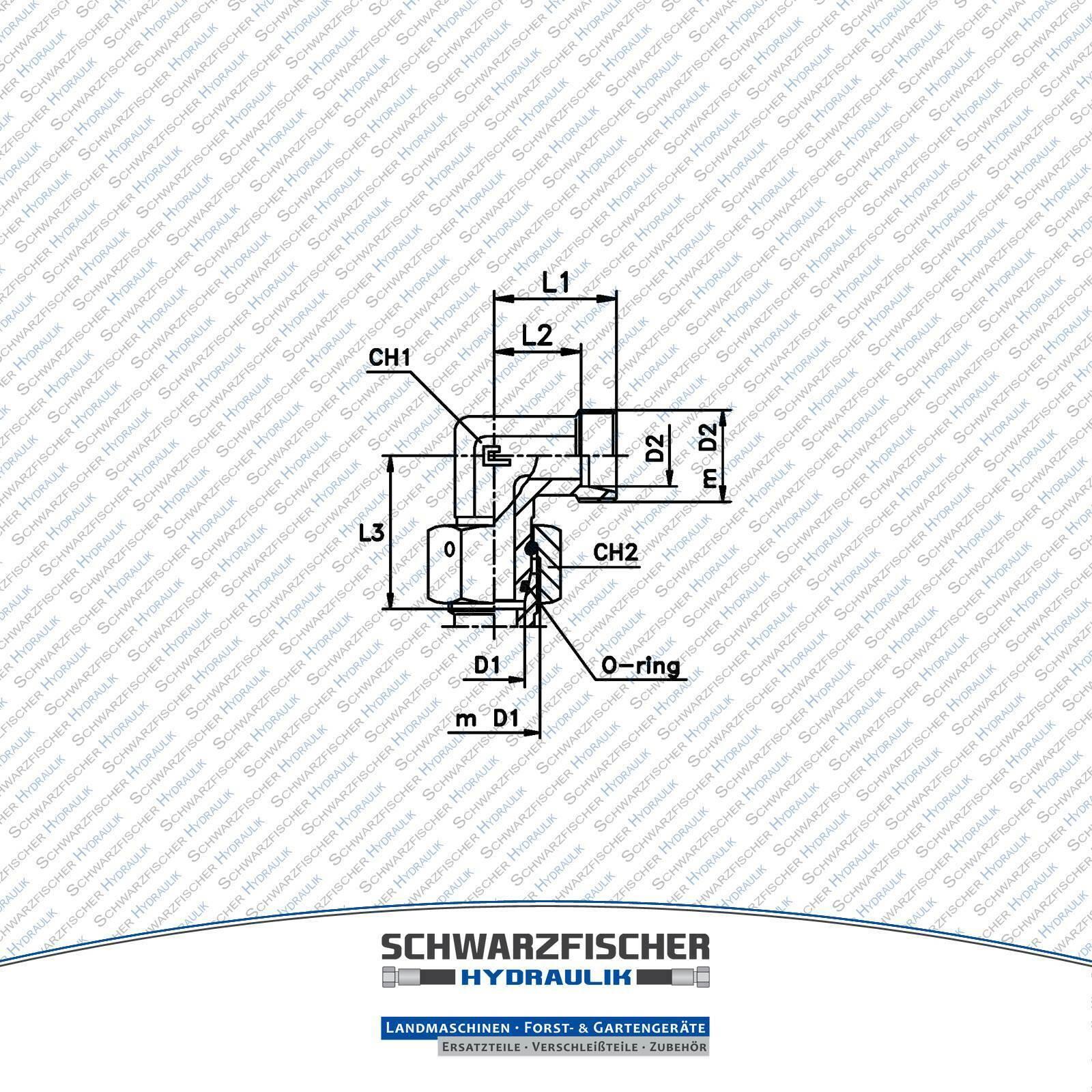 Hydraulik 8-L//6-S ED Winkel M14 Rohr-Verschraub-Adapter SW17 L-Verbindungsstück