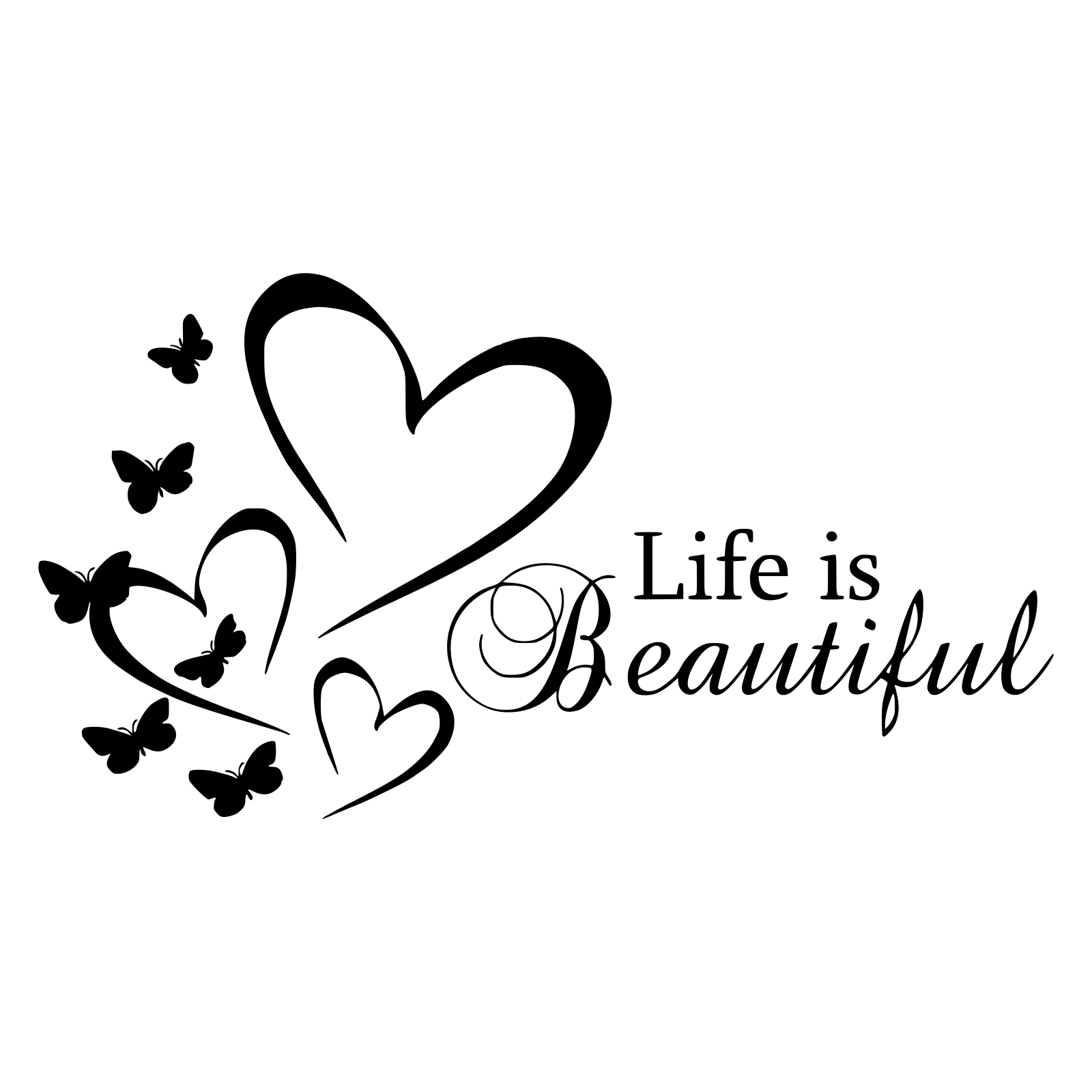 Home Decoration - Wall Art Stickers Life is Beautiful Removable Home Decor Decals, DIY quotes D