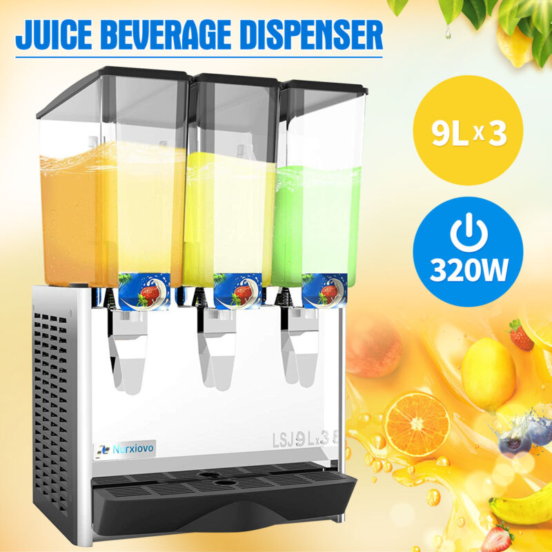 3 Tank Commercial Juice Beverage Dispenser Cold Drink w/ Thermostat Controller