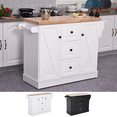 Portable Rolling Kitchen Island Cart With Spice Rack And Towel Rack Wood