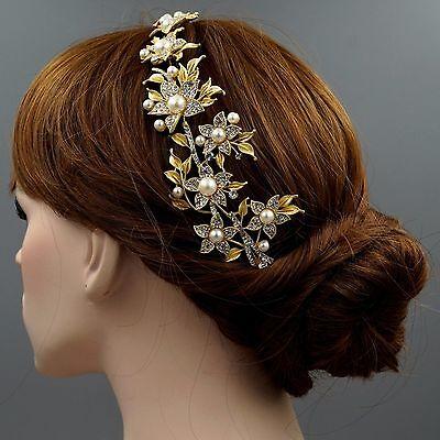 Crystal Pearl Flower Headband Headpiece Tiara Wedding Accessory 00365 Satin Gold