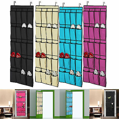 20 Pocket Over the Door Shoe Organizer Rack Hanging Storage Space Saver Hanger