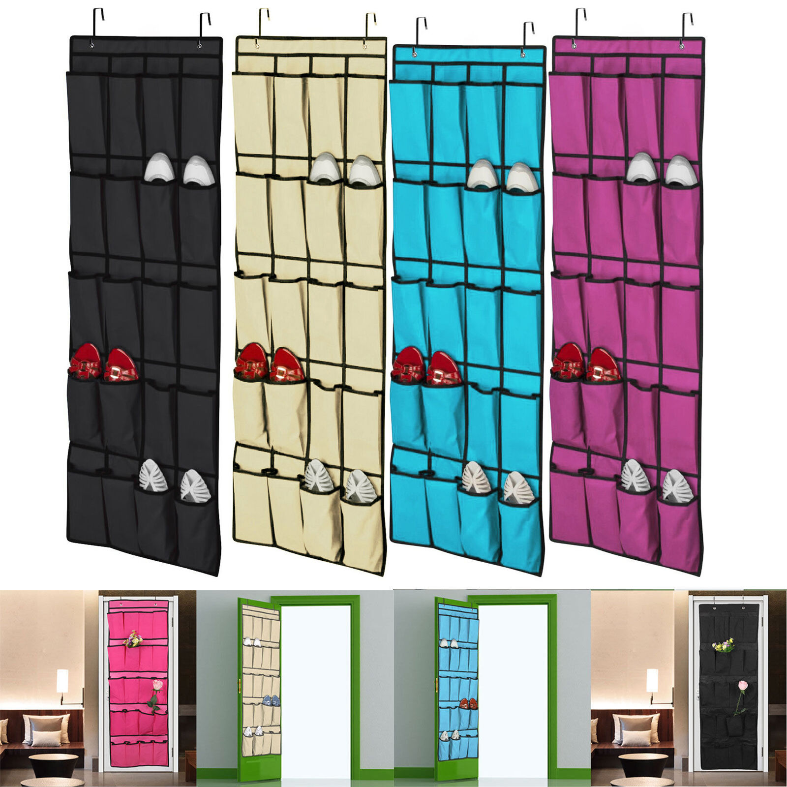 20 Pocket Over the Door Shoe Organizer Rack Hanging Storage