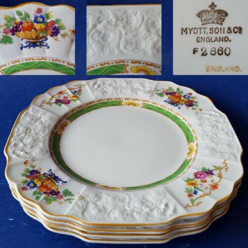 "4 c1907-1930 Myott Sons & Co F2860 7.75"" Square Salad Plates. Flowers Green Band"