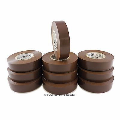 10 Rolls Brown Vinyl Pvc Electrical Tape 34 X 66 Adhesive - Free Shipping