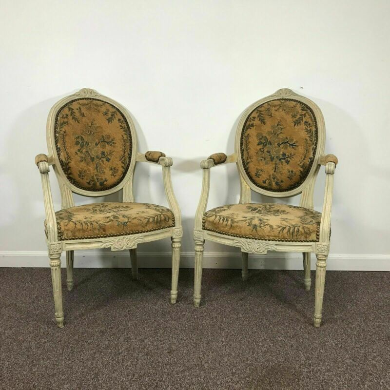 Pair of French 18th Century Louis XVI Arm Chairs W/ 18th Century Tapestry