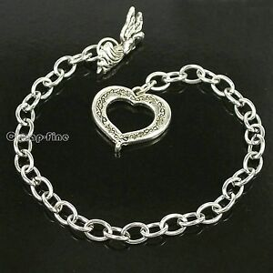 Wholesale-10x-Stainless-Steel-chain-ANGEL-WING-HEART-bracelet-for-charm-dangles