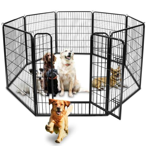 39″Tall Foldable 8 Panels Metal Pet Dog Puppy Cat Exercise Fence Barrier Playpen Dog Supplies