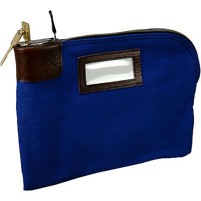 Blue Currency Bag with Built-in Lock, 11 x 8.5
