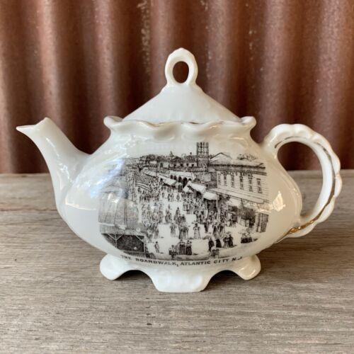RARE Vintage THE BOARDWALK Collectible Souvenir China Teapot ATLANTIC CITY N.J.
