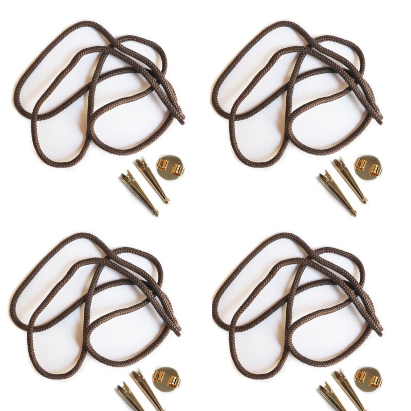 Blank Bolo Tie Parts Kit Round Slide Smooth Tips Brown Cord Goldtone Pk/4