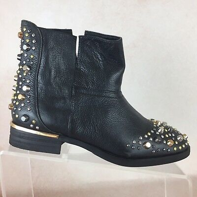 MODERN VICE B53 Black Leather Metal Studded Slip On Ankle Biker Boots Shoes Sz 6