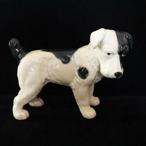 "Large 11.5"" Vintage Ceramic Terrier Black & White Dog Figurine"