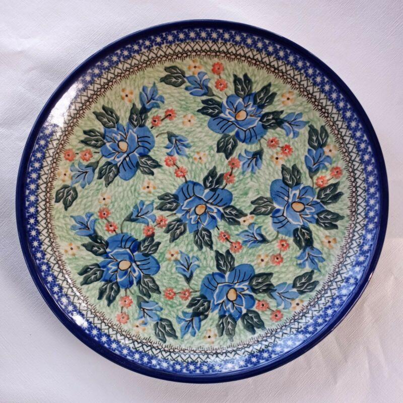 "CERAMIKA ARTYSTYCZNA POLISH POTTERY 12 1/4""  Platter WALL HANGING blue green"