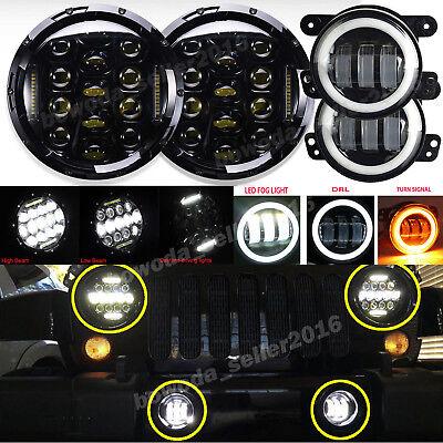 "2x 7"" 75W LED Headlight +2x 4"" 30W LED Fog Light For 97-16 Jeep Wrangler JK TJ"