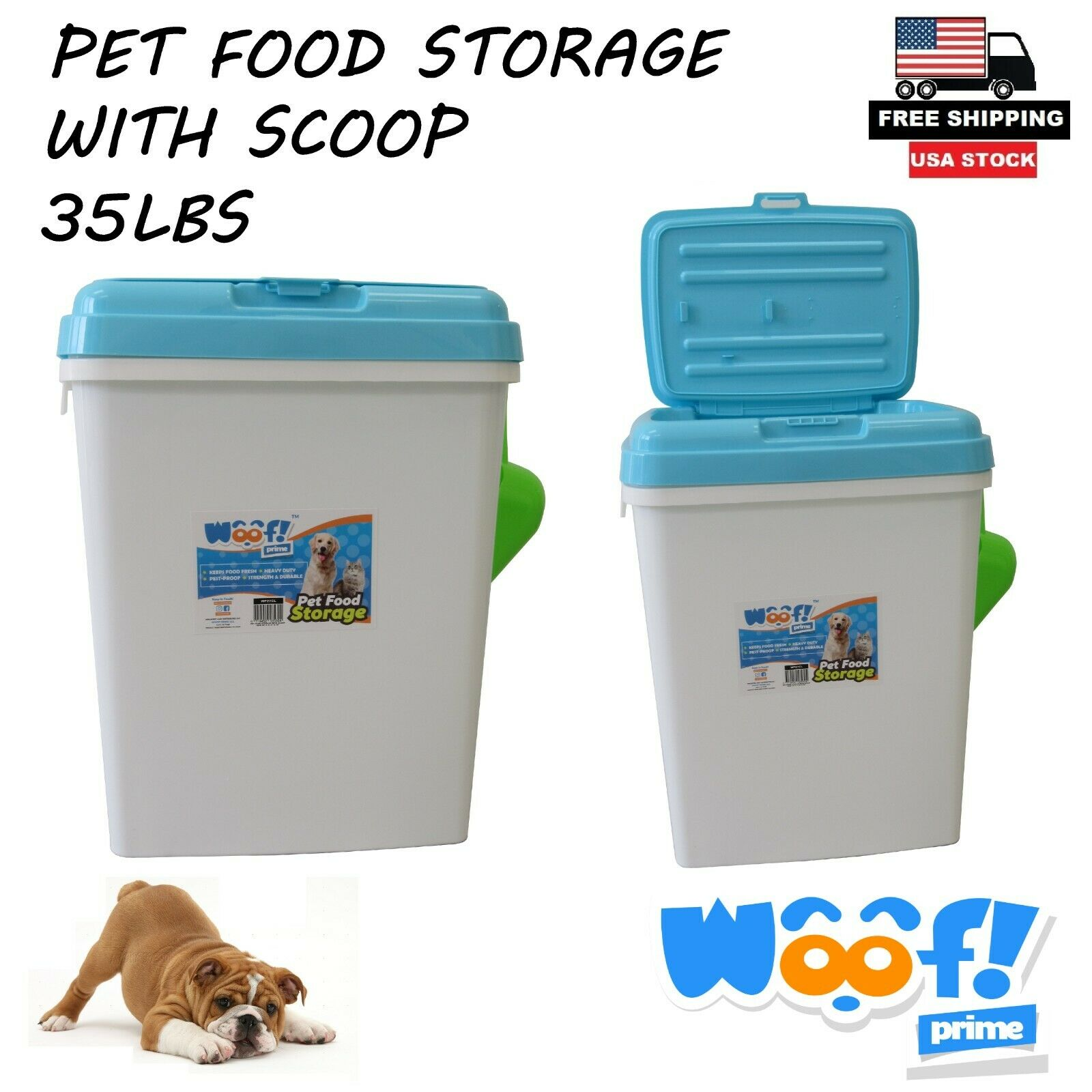 Pet Food Storage Container With Scoop 35lb Diamond Surface Blue Woof! Prime