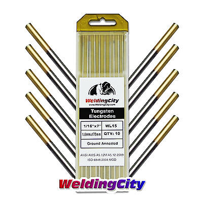 10-pk Tig Welding Tungsten Electrode 1.5 Lanthanated Gold 116x7 Us Seller
