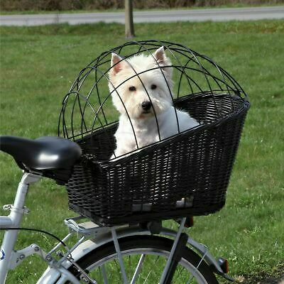 Bike Basket Wicker Bicycle Rear Mounted Rack Dog Pet Wire Mesh Carrier Cushion