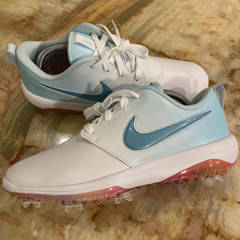 new womens nike roshe g tour nrg White / blue fade Metallic golf shoes sz: 10